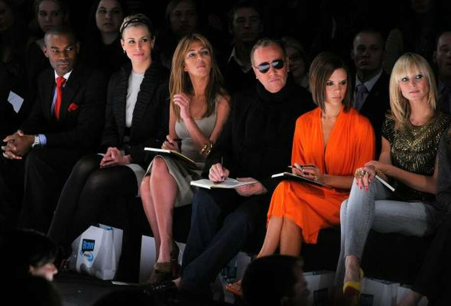 From left, Tyson Beckford, Nikki Taylor, Nina Garcia, Michael Kors, Victoria Beckham and Heidi Klum attend a taping of Bravo's Project Runway during New York Fashion Week. Photo: PETER KRAMER, ASSOCIATED PRESS