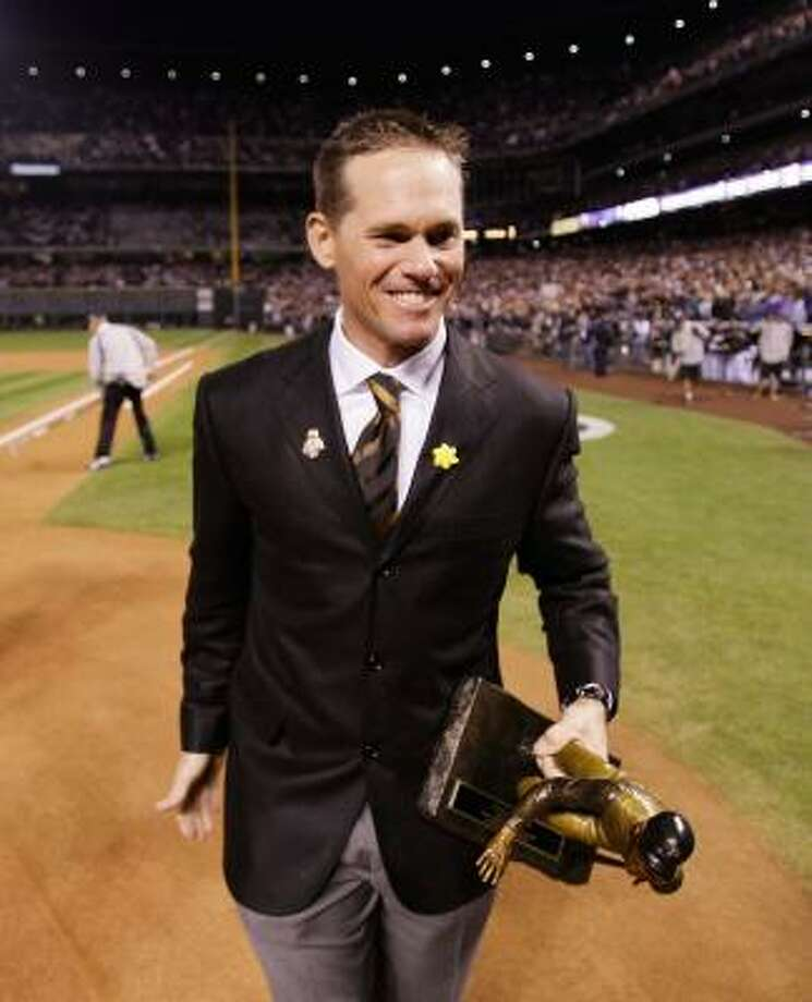 Craig Biggio is the franchise's all-time leader in games played, runs scored and at-bats, finishing his career with 3,060 hits, 668 doubles, 291 home runs, 1,175 RBIs and a .281 career average in 2,850 games. Photo: Pool, Getty Images