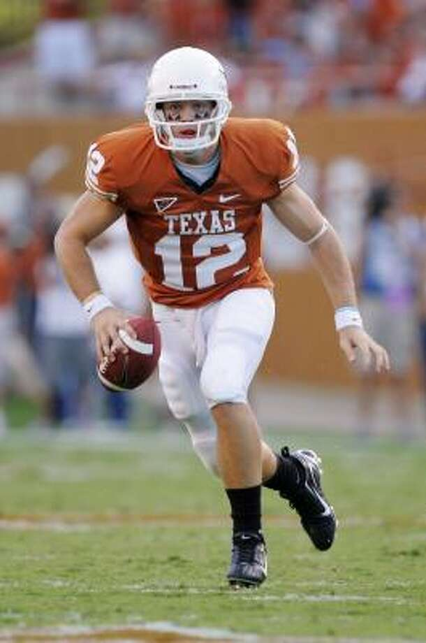 QB Colt McCoy and the Texas Longhorns kick off their season today against Florida Atlantic. Photo: Brian Bahr, Getty Images