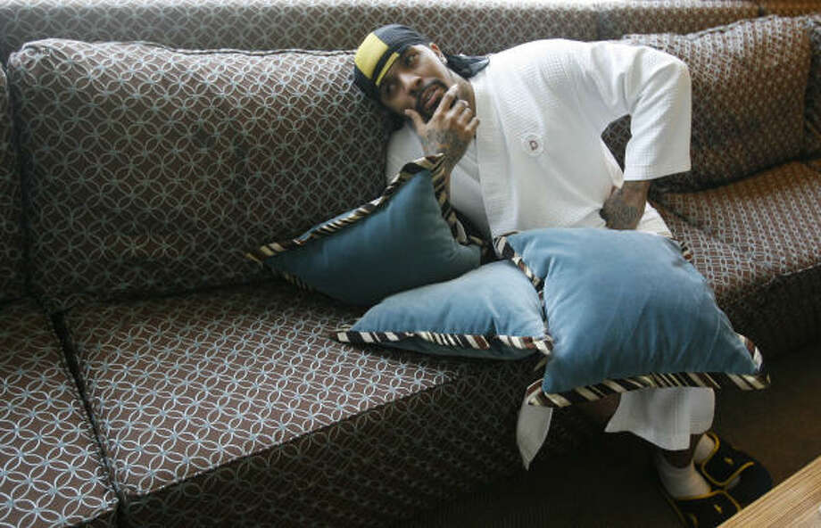 Lil' Flip takes it easy at the Hotel Derek in between school visits and promotions for his new album, I Need Mine. Photo: Mayra Beltran, Chronicle