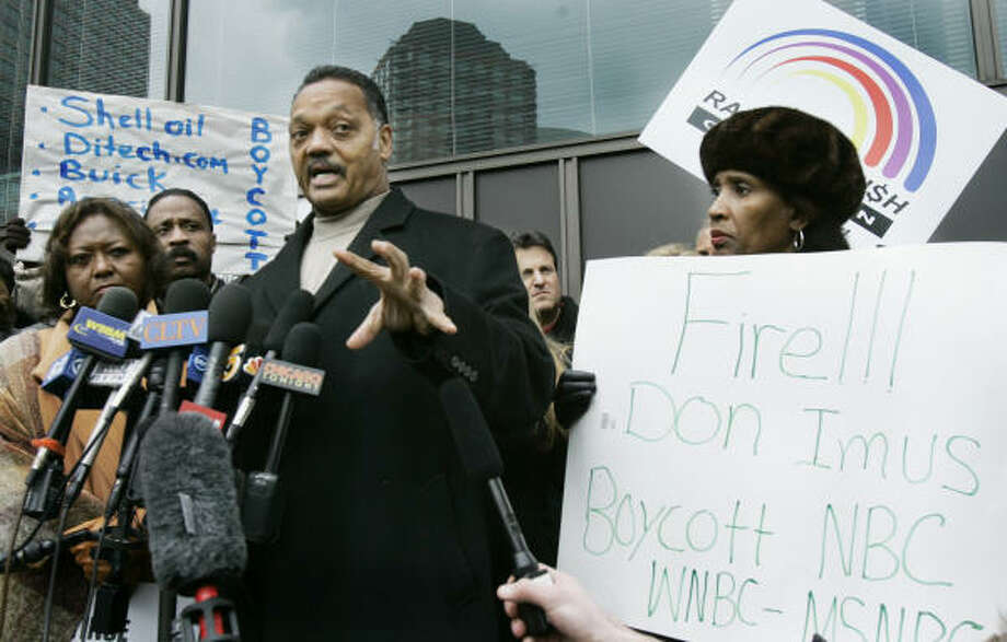 The Rev. Jesse Jackson leads a protest outside Chicago's NBC Studios on Monday, calling for the firing of radio talk show host Don Imus for his offensive comments about the Rutgers women's basketball team. Photo: Charles Rex Arbogast, AP Photo