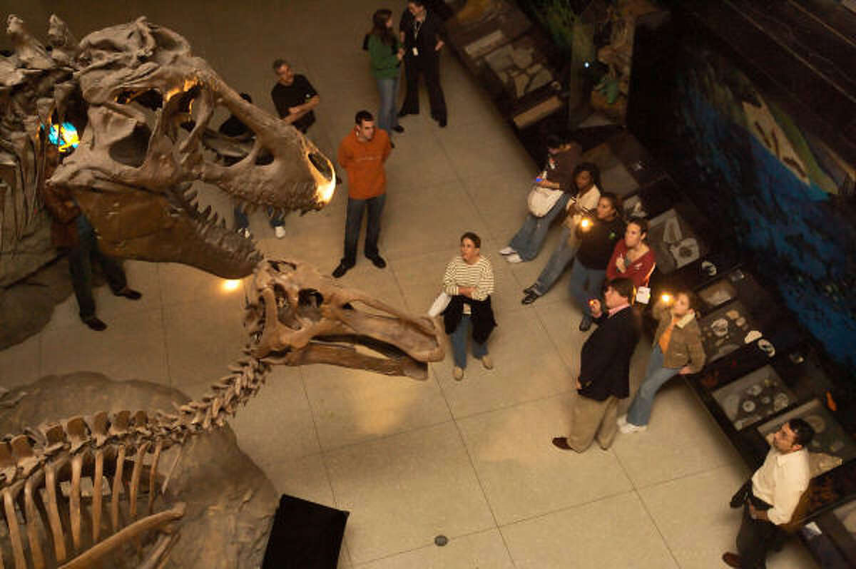 A tour group gets a close-up look at the dinosaur exhibit at the museum during a midnight flashlight tour.