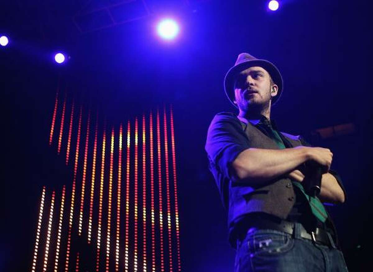 Singer Justin Timberlake performs at KIIS FM's Jingle Ball 2006 at the Honda Center in December in Anaheim, Calif.