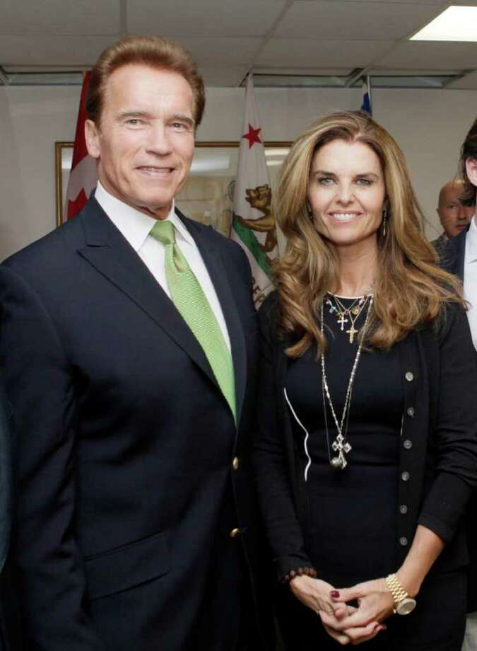 FILE - In this Oct. 2, 2009 file photo, California Gov. Arnold Schwarzenegger and his wife Maria Shriver pose for photos before they meet at the second Governors' Global Climate Summit in Los Angeles.  The former California governor indicated in a divorce filing that he does not want to pay Shriver spousal support. Shriver filed divorce papers July 1, 2011, to end their marriage of 25 years. (AP Photo/Reed Saxon) Photo: Reed Saxon, STF / AP2009