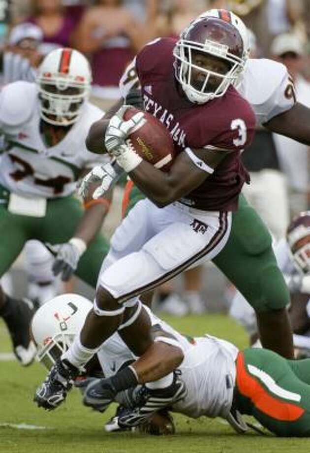 "Texas A&M running back Mike Goodson refuses to look at the opening line for the Aggies game against the Oklahoma State Cowboys, who are favored by four touchdowns. ""I really don't look at that stuff as far as playing-wise because it will only get in your head,"" Goodson said. Photo: Dave Einsel, AP"