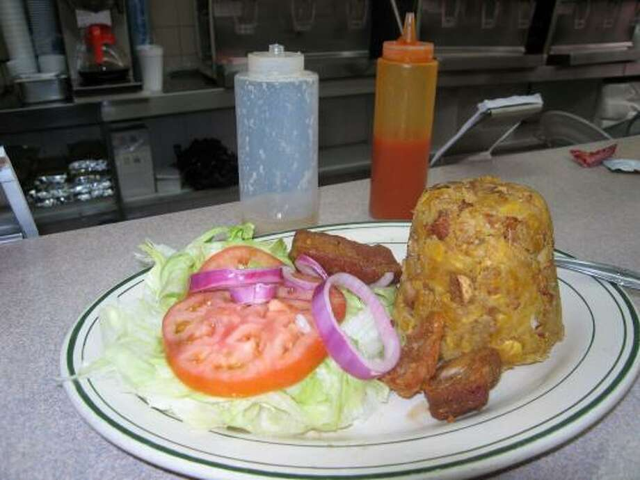 Mofongo al pilon, a house specialty. Photo: Jacob Freedman