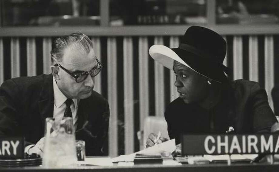 In 1969, Angie Elizabeth Brooks-Randolph, right, became the first African woman to serve as president of the United Nations General Assembly. Brooks-Randolph joined the General Assembly as a Liberian delegate in 1954. Photo: HANDOUT PHOTO