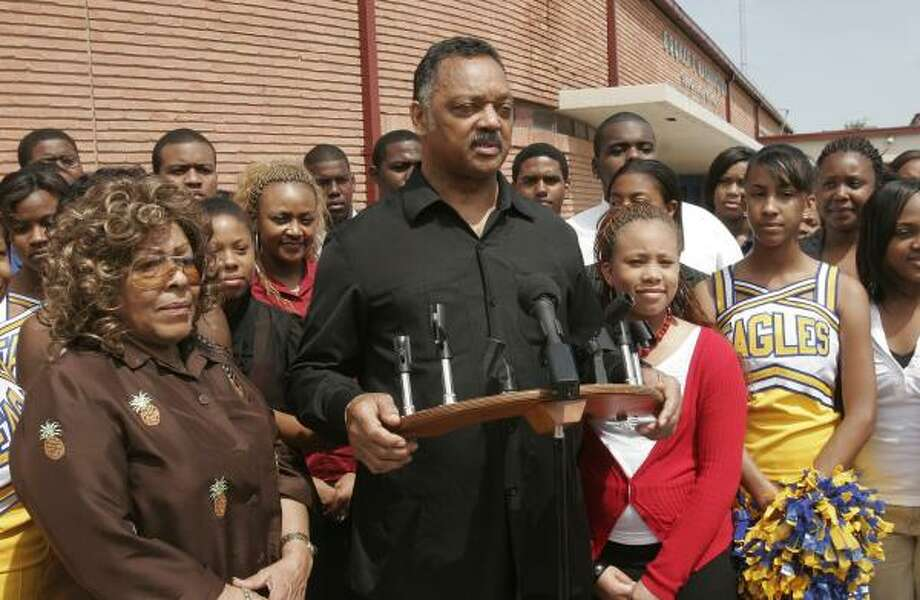 The Rev. Jesse Jackson attends a student rally Wednesday at Booker T. Washington High School. He plans to meet with community leaders here in May to discuss his claim that there are far too few blacks and Latinos at the executive level in the energy sector. Photo: BILL OLIVE, FOR THE CHRONICLE