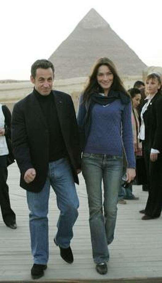 Carla Bruni accompanied Nicolas Sarkozy to Egypt in December. Photo: REMY DE LA MAUVINIERE, AP