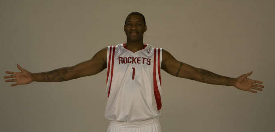 Tracy McGrady poses during the Rockets media day at the Toyota Center on Monday. Photo: James Nielsen, Chronicle