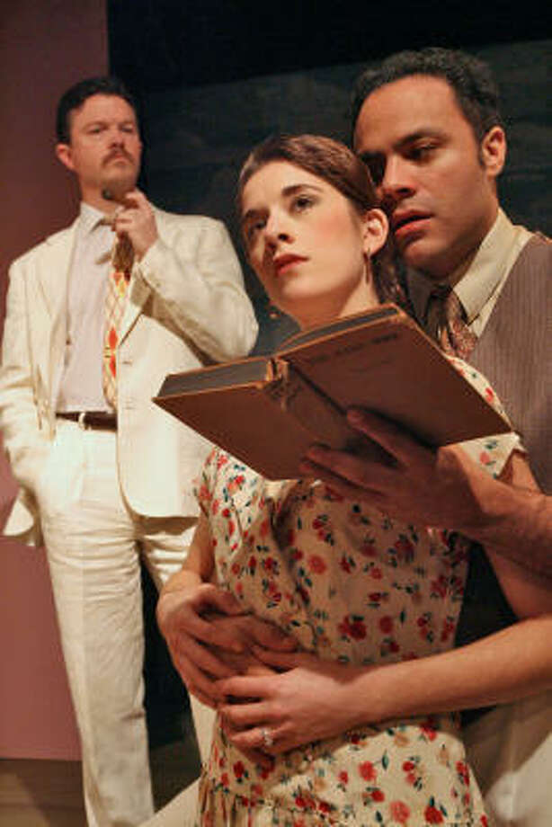 Joel Sandel, from left, Laura Kaldis and Ilich Guardiola, in a scene from Main Street Theater's production of Anna in the Tropics. Photo: Bill Olive, For The Chronicle