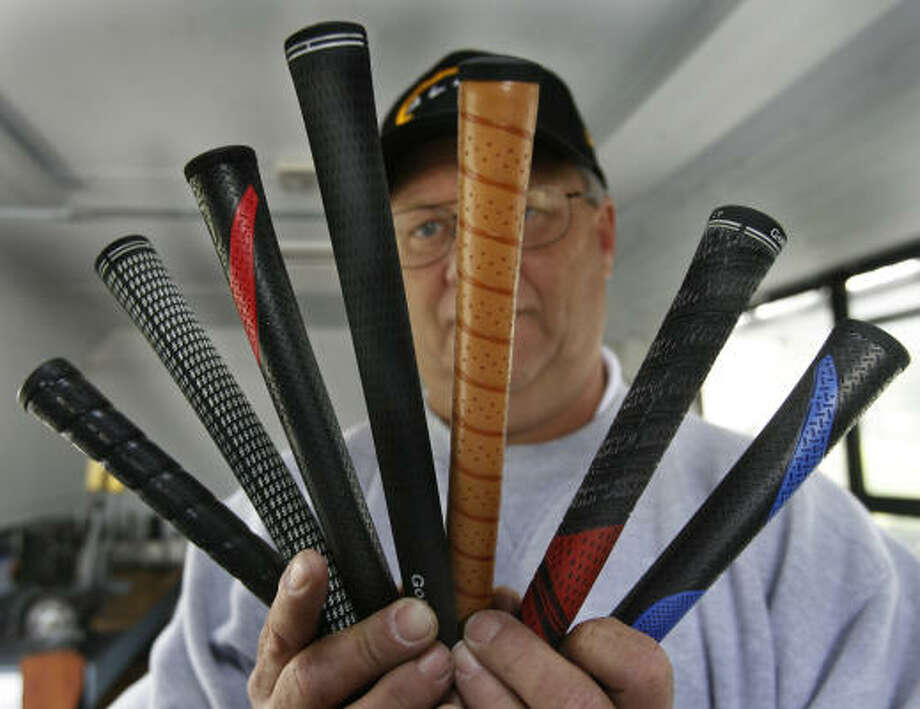Regripping golf clubs is one of Rob Baldwin's primary services. Photo: Carlos Antonio Rios, Chronicle