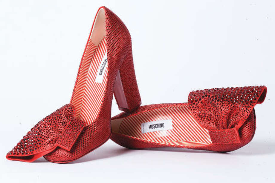 Moschino's ruby shoes are part of an exhibit at Saks Fifth Avenue commemorating the 70th anniversary of the classic film The Wizard of Oz. Photo: Saks Fifth Avenue