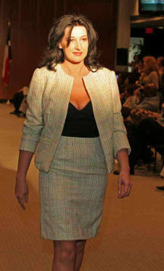 Freddy Saucedo created this Chanel-inspired tweed suit. Photo: Gary Fountain, For The Chronicle