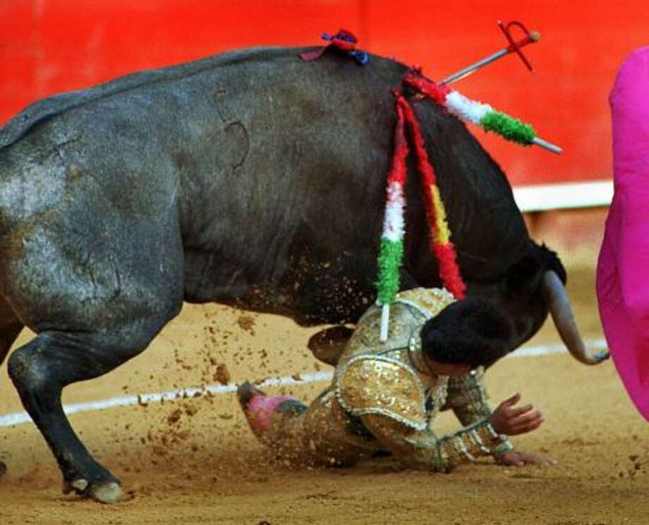 A bullfighter gets trampled by a bull during a bullfight in Valencia, Spain. Photo: RAMON ESPINOSA, Associated Press