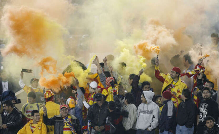 Interliga (shown here at a Morelia-Jaguares match in January) has been a fan favorite in Houston. Photo: Kevin Fujii, Chronicle