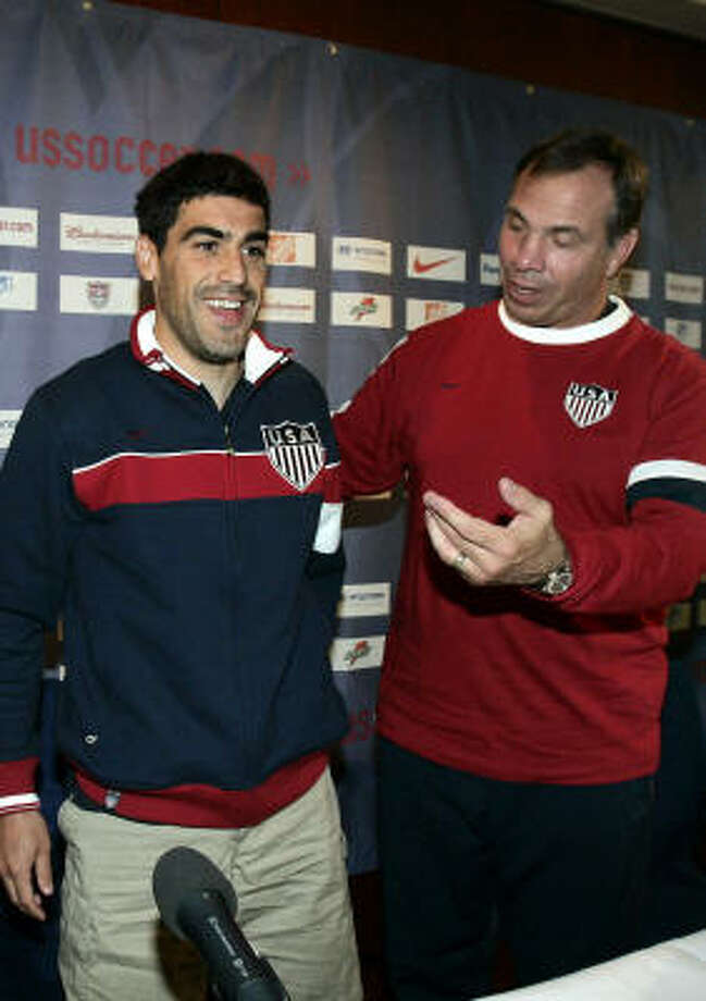 Should he end up with the Red Bulls, Claudio Reyna, left, would be reunited with his college and national team coach Bruce Arena. Photo: ELISE AMENDOLA, AP