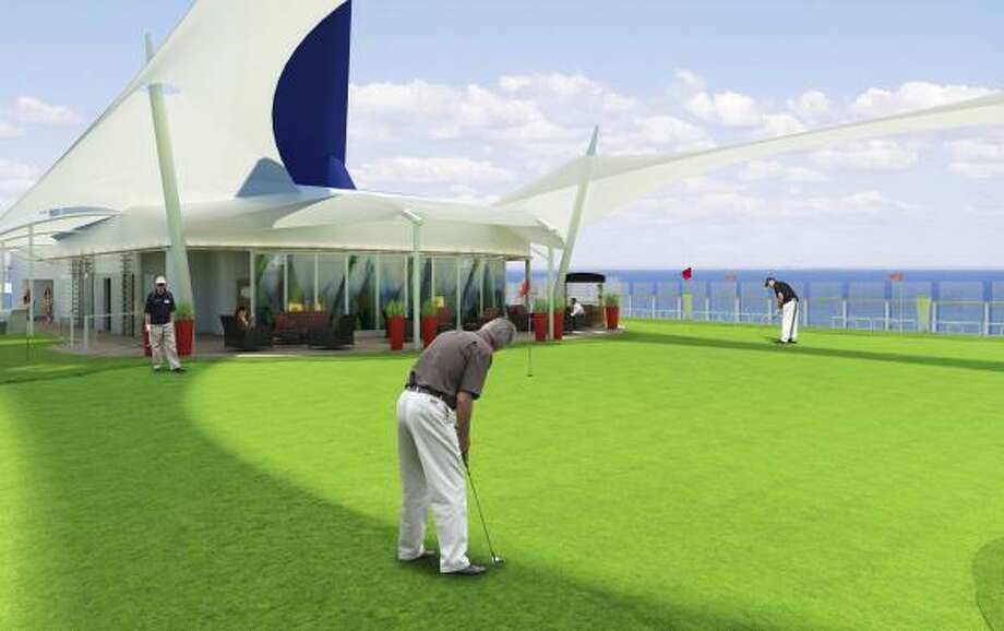 Passengers on the Celebrity Solstice will be able to putt on real, growing grass on the ship's top deck. Photo: Celebrity Cruises, CELEBRITY CRUISES