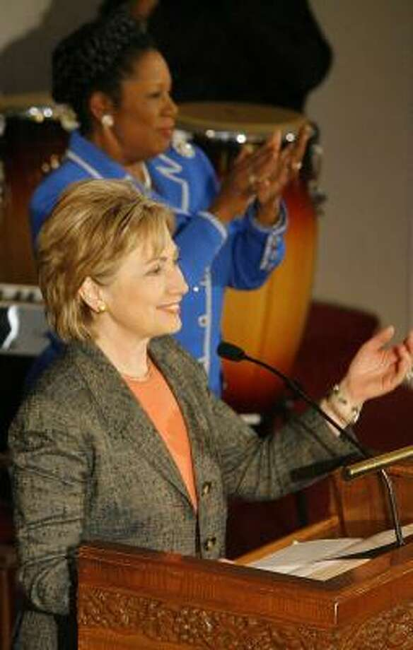 Sen. Hillary Rodham Clinton, D-N.Y., speaks at the Wesley African Methodist Episcopal Church. Photo: STEVE CAMPBELL, CHRONICLE