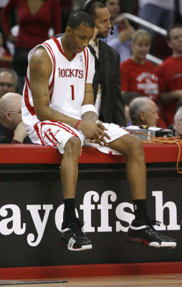 Tracy McGrady (shown during Game 2) said he was exhausted after the two games in Houston. Photo: James Nielsen, Chronicle