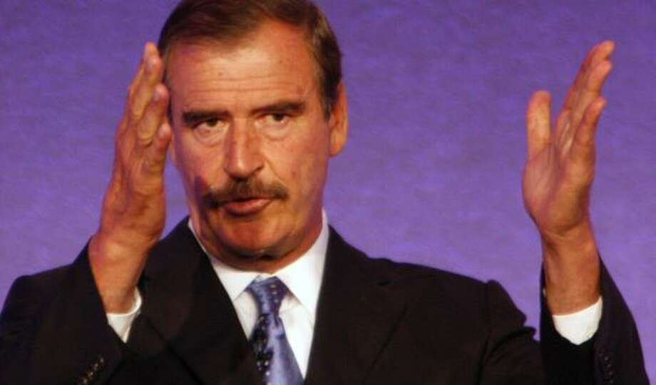 Former Mexican President Vicente Fox speaks on Tuesday at KPMG's global energy conference. Photo: STEVE UECKERT, CHRONICLE
