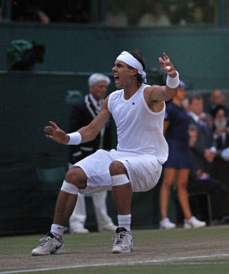 Rafael Nadal of Spain celebrates after beating Roger Federer of Switzerland. Photo: ADRIAN DENNIS, AFP/Getty Images