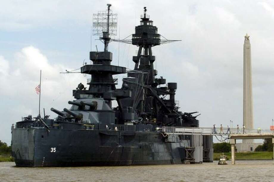 The Battleship Texas is berthed near the San Jacinto Monument. Photo: KARL STOLLEIS, HOUSTON CHRONICLE