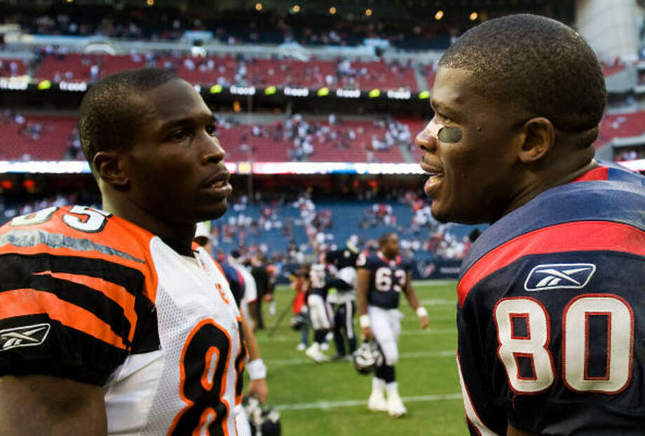 Andre Johnson showed up a friend and fellow Johnson, Chad (Ocho Cinco). Photo: Smiley N. Pool, Chronicle