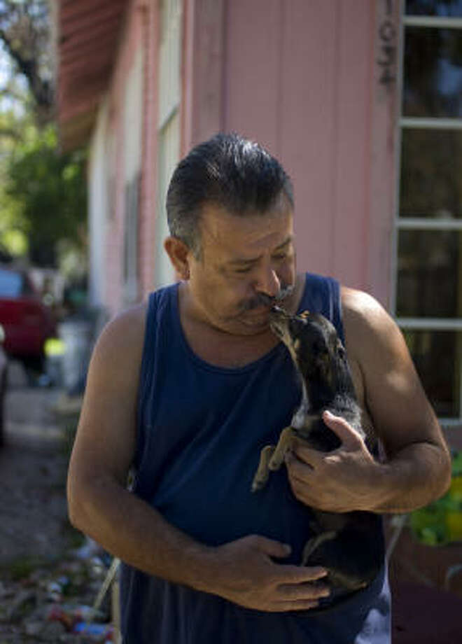 "After a shed in Antonio Quintanilla's backyard was  set ablaze, he stopped being able to sleep at night. ""If my little dog, Chico, barks, I'm awake and watching through the windows,"" he said. Photo: Johnny Hanson, Chronicle"