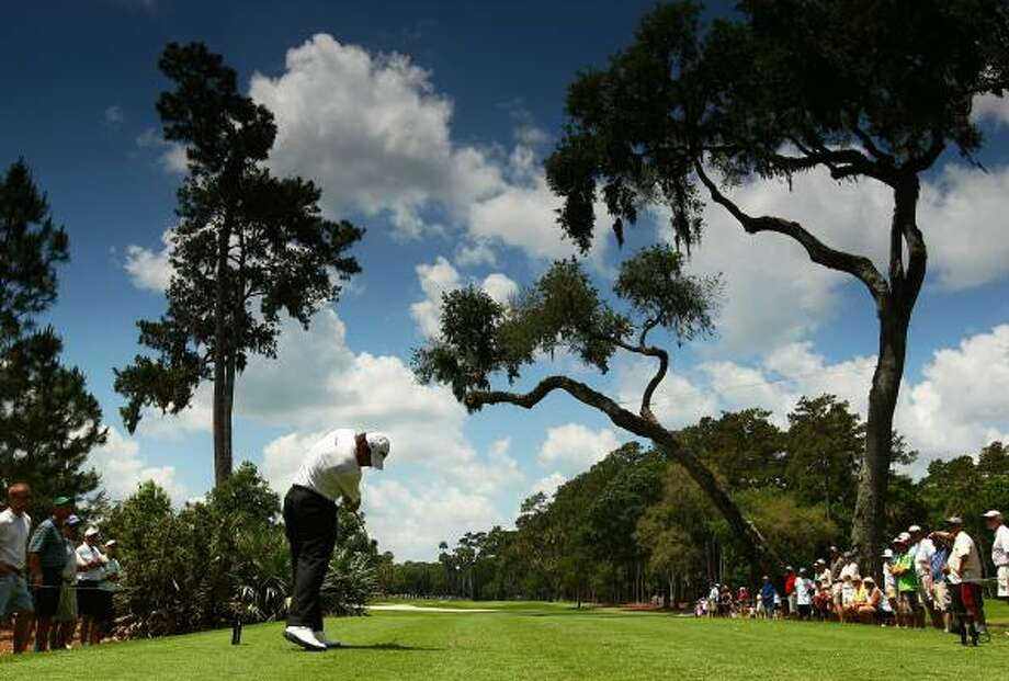 Lee Westwood tees off on the sixth hole during the second round in Ponte Vedra Beach, Fla. Photo: Richard Heathcote, Getty Images
