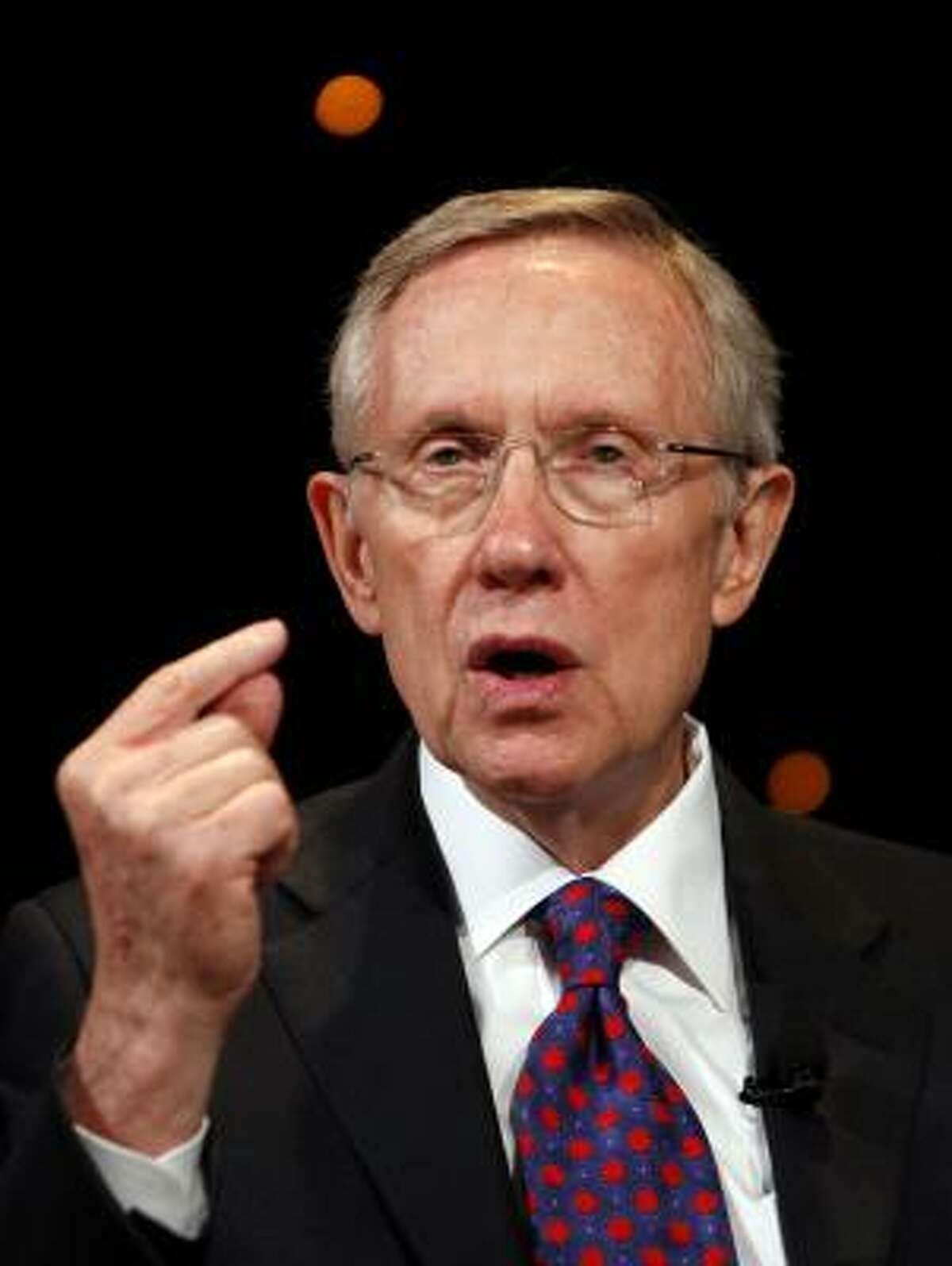 Sen. Harry Reid answers questions during the Netroots Nation convention at the Rio Hotel and Casino in Las Vegas on Saturday.