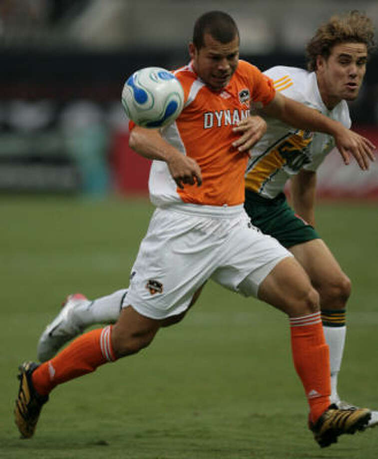 Forward Alejandro Moreno, left, believes the Dynamo is ready for the challenge that playing in Costa Rica presents. Photo: Mayra Beltran, Houston Chronicle