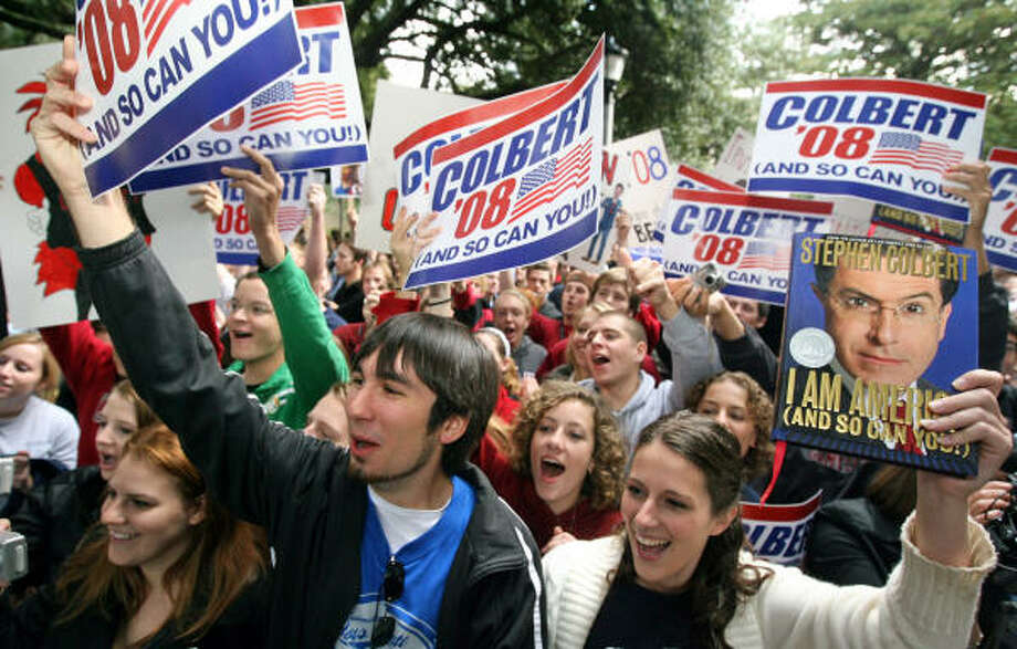 """Stephen Colbert fans show their support during the """"Favorite Sons 2008"""" campaign at the University of South Carolina in Columbia on Oct. 28, 2007. Mayor Bob Coble gave Colbert the key to the city. Photo: C. Aluka Berry, MCT"""
