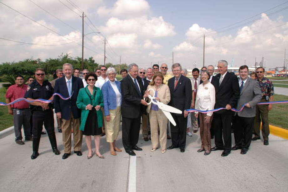 At the ribbon-cutting event of the newly enhanced Barbours Cut Boulevard.