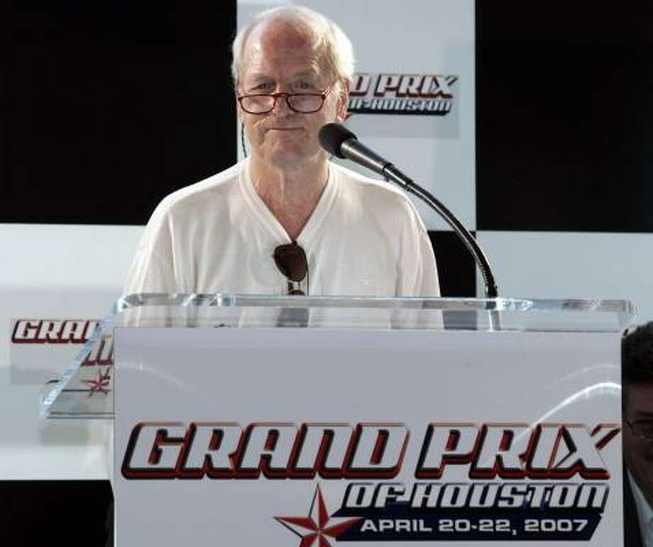 Paul Newman, owner of seven Champ Car World Series titles, was on hand when Grand Prix of Houston race organizers intro-duced the new name of the racetrack: JAGFlo Speedway at Reliant Park. Photo: JOHNNY HANSON, FOR THE CHRONICLE