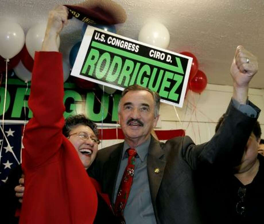 """Democratic winner Ciro Rodriguez celebrates with his wife, Carolina, on Tuesday. """"I can assure you I'm going to be reaching out and working with everyone,"""" Rodriguez said. Photo: Eric Gay, AP"""