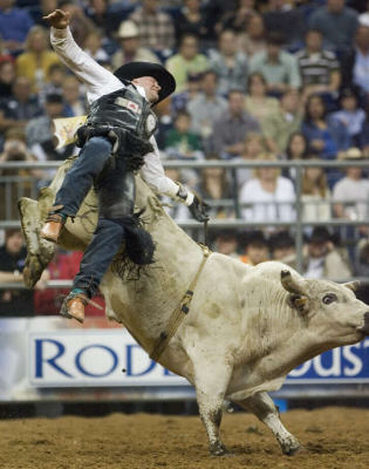 Roughstock eventsThere are two categories of rodeo events — roughstock or timed. Roughstock events are based on scores, such as saddle bronc, bareback and bull riding. Scores are based on various factors, including challenge, technique, form and duration of the ride. Jesse Bail pictured bucked off Multi Chem Frosty during RodeoHouston. Photo: SMILEY N. POOL, CHRONICLE