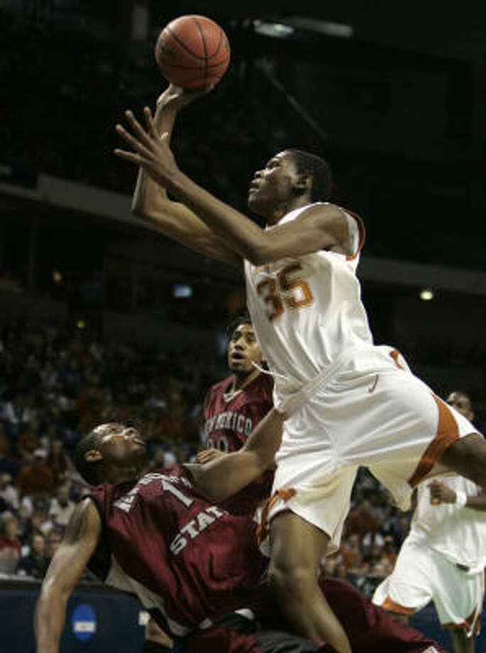 Last season Durant averaged 25.8 points and 11.1 rebounds at Texas. Photo: Elaine Thompson, AP