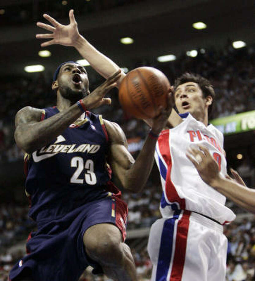 LeBron James had a difficult night against Pistons defenders like Carlos Delfino, scoring only 10 points on 5-for-15 shooting. Photo: Eric Seals, Mcclatchy-tribune
