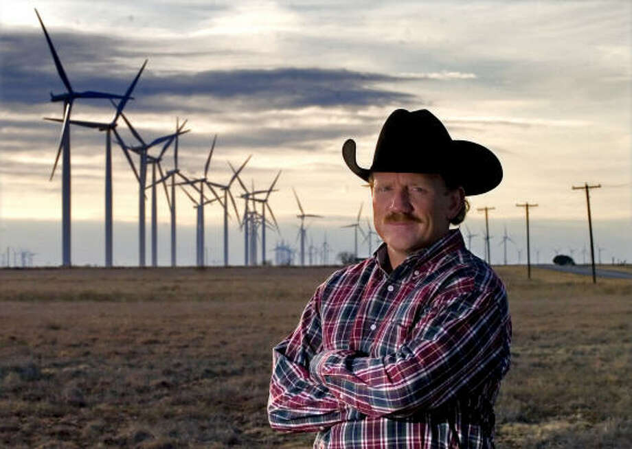 When wind turbines began dotting the skyline around Dale Rankin's horse ranch near Abilene, he teamed up with other property owners to sue the company in charge of the project, FPL Energy. Photo: Brandon Wade, For The Chronicle