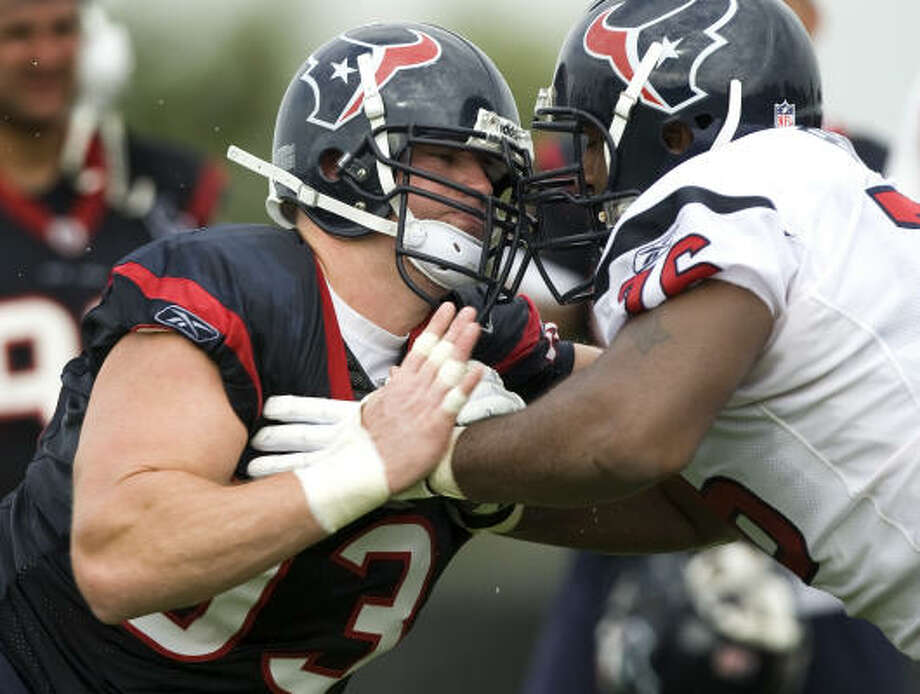 Texans defensive end Tim Bulman, who finished second to Mario Williams with four sacks last season, is in a familiar position – trying to impress the coaches enough to earn a spot on the team. Photo: Brett Coomer, Chronicle