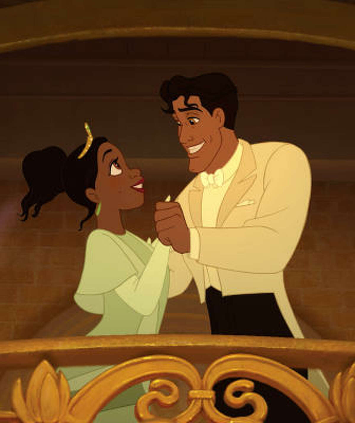 Princess Tiana is swept away by Prince Naveen of Maldonia in The Princess and the Frog.