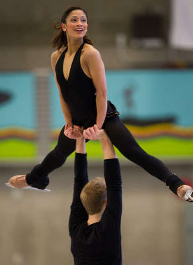 U.S. pairs figure skaters Amanda Evora and Mark Ladwig train at the Trout Lake Community Centre in advance of the 2010 Winter Olympic Games. Photo: Smiley N. Pool, Chronicle