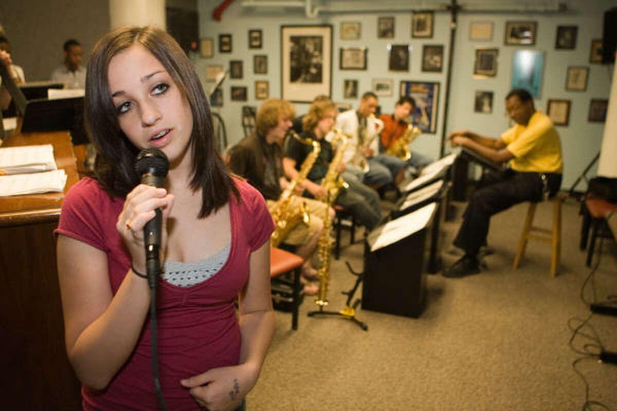 Lauren Patrick, 14, rehearses with the Young Sounds of Houston Jazz Combo at University of Houston - Downtown.