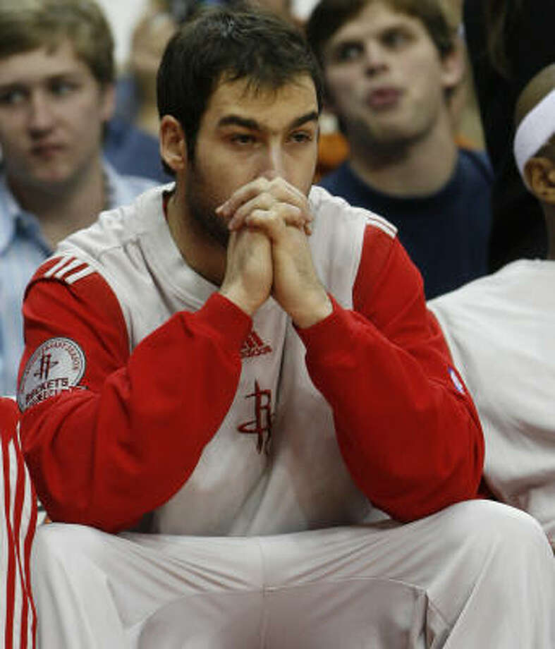 Vassilis Spanoulis says he has not been playing to his strengths — or even playing much at all — with the Rockets. Photo: Aaron M. Sprecher, For The Chronicle