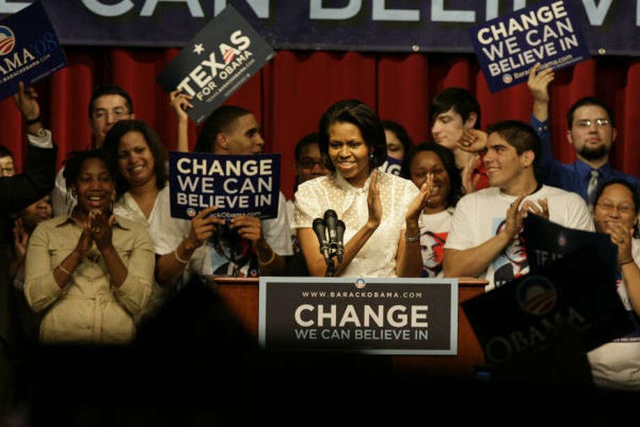 Michelle Obama speaks Monday night at the University of Houston. Photo: Eric Kayne, Chronicle