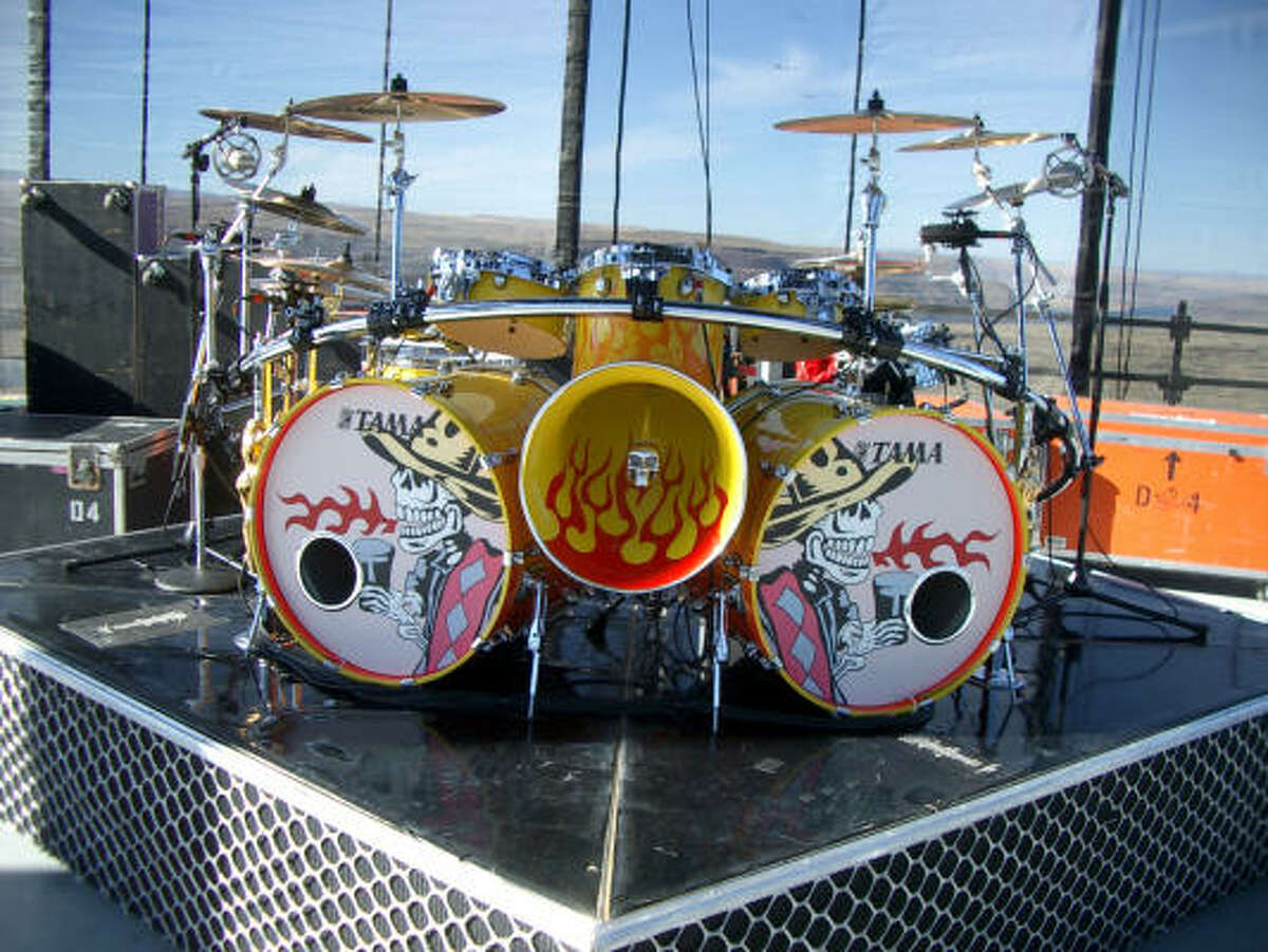 Flames and skulls appear often in Douglas' work. This is a kit he designed for Beard for ZZ Top's 2003 Mescalero Tour.