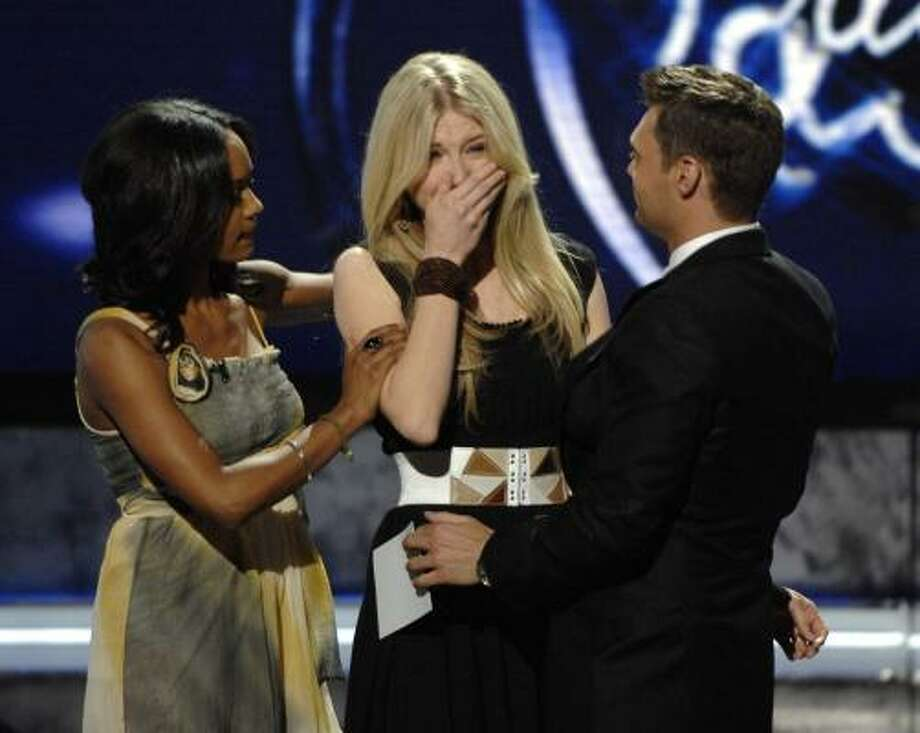 Brooke White was eliminated from the competition Wednesday on American Idol. Photo: RAY MICKSHAW, GETTY IMAGES FOR FOX