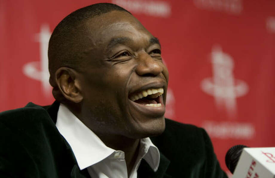 Rockets center Dikembe Mutombo is all smiles in this pic, but he expects to shed some tears on Tuesday. Photo: Brett Coomer, Houston Chronicle