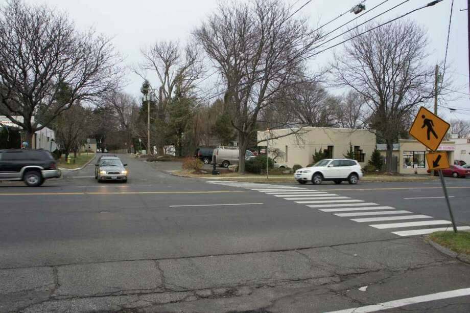 The late Sharon Broecking was struck and killed while crossing the pictured pedestrian crosswalk at the intersection of Post Road East and Westfair Drive on Dec. 21, 2010. Westport police announced on Friday, July 22, 2011 that charges will not be filed against the driver who reportedly struck Broecking with her vehicle. Photo: Paul Schott / Westport News